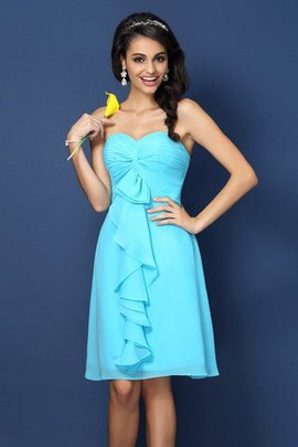 Draped Zipper Up Sweetheart Knee Length Bridesmaid Dress