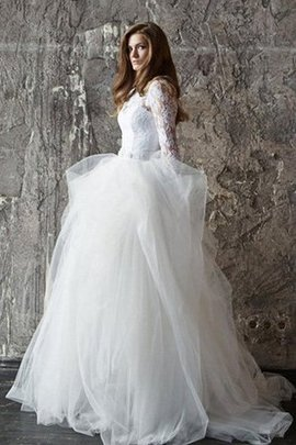 Sweep Train Tulle Cascading Ruffle Bateau Beading Wedding Dress