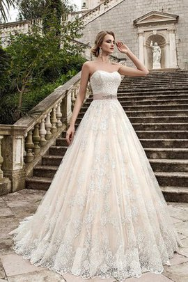 Sashes Lace Sweetheart Natural Waist Wedding Dress