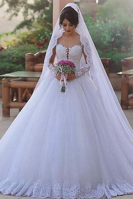 Chic & Modern Hot Sale Natural Waist Lace Fabric Sweep Train Pleated Lace-up Wedding Dress