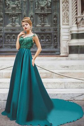Short Sleeves High Neck Appliques Capped Sleeves A-Line Prom Dress