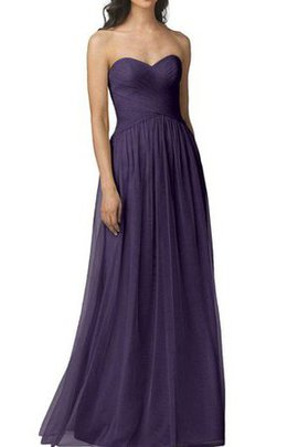 Long Knee Length Ruched Tulle Criss-Cross Bridesmaid Dress