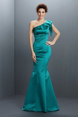Long One Shoulder Sleeveless Satin Floor Length Evening Dress