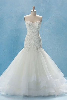 No Waist Lace-up Tiered Organza Jewel Accented Wedding Dress