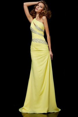 Natural Waist Sweep Train Sheath Zipper Up One Shoulder Evening Dress