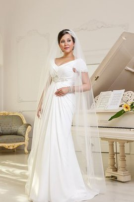 Beading Capped Sleeves Simple Empire Waist Romantic Wedding Dress