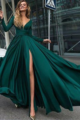 V-Neck A-Line Sweep Train Zipper Up Evening Dress