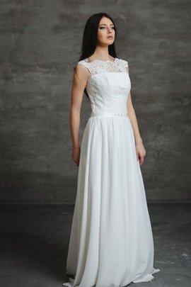 Keyhole Back Beading Chiffon Floor Length Pleated Wedding Dress