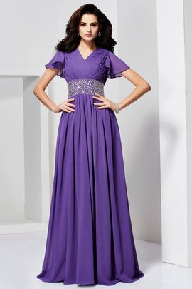Floor Length Short Sleeves Long V-Neck Natural Waist Evening Dress