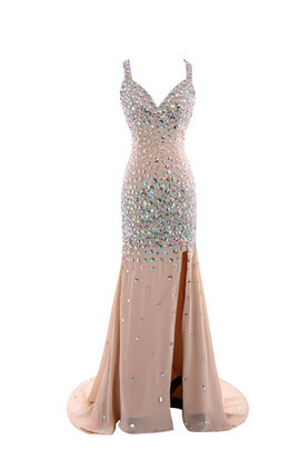 Zipper Up Crystal Hall Demure Court Train Evening Dress