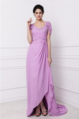 Chiffon Square Zipper Up Sweep Train Natural Waist Mother Of The Bride Dress