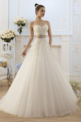 Appliques Bow Long Natural Waist Sweetheart Wedding Dress