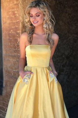 Natural Waist Lace-up A-Line Sweep Train Distinctive Princess Beading Prom Dress