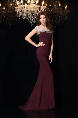 Zipper Up Appliques Elastic Woven Satin Natural Waist High Neck Evening Dress