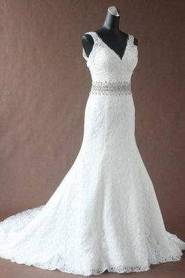 Floor Length Sequins V-Neck Beading Long Wedding Dress