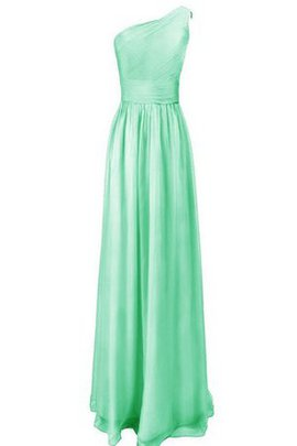 Zipper Up Sleeveless A-Line One Shoulder Pleated Bridesmaid Dress