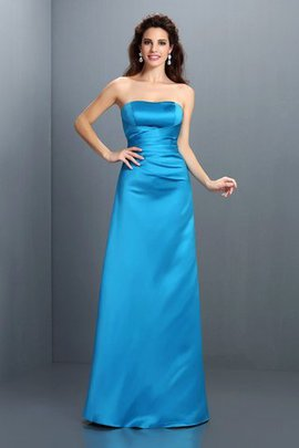 Floor Length Satin Zipper Up Sleeveless Princess Bridesmaid Dress