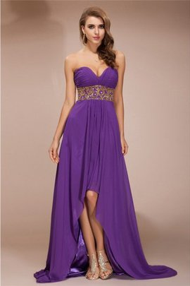 A-Line Zipper Up Beading Sleeveless Asymmetrical Prom Dress