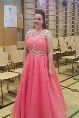 Plus Size Beading Sleeveless A-Line Natural Waist Prom Dress