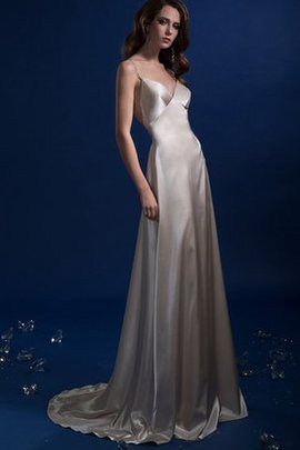 Sweep Train Floor Length Satin Sleeveless Long Wedding Dress