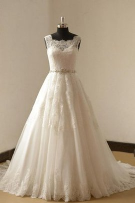 Zipper Up Sweep Train Lace Sleeveless Wedding Dress