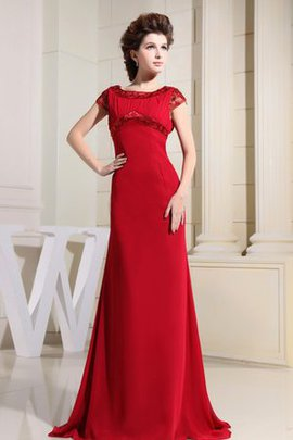 Beading Chiffon Floor Length Short Sleeves Ruched Evening Dress