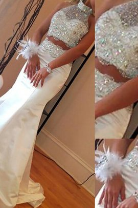 High Neck Natural Waist Beading 2 Piece Satin Evening Dress