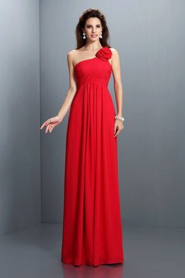 A-Line Draped Natural Waist Long One Shoulder Bridesmaid Dress