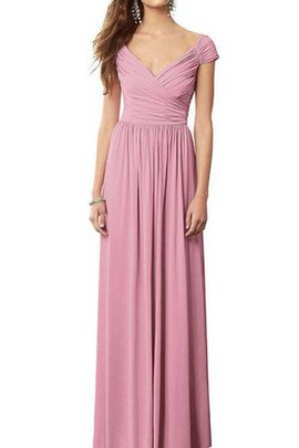 A-Line V-Neck Long Elegant & Luxurious Pleated Bridesmaid Dress