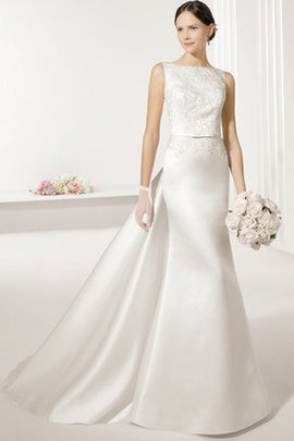 Satin Court Train Outdoor Bateau Mermaid Wedding Dress