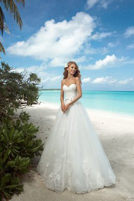 Detachable Tra Sweetheart Long Bow Floor Length Wedding Dress
