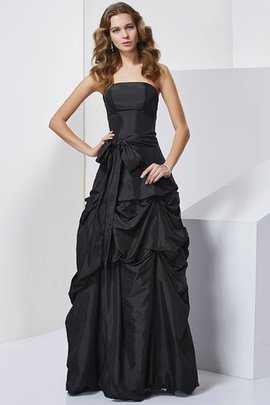 Strapless Floor Length Taffeta Natural Waist Sheath Evening Dress