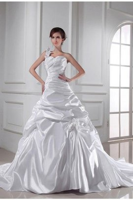 Empire Waist Long Lace-up One Shoulder Elastic Woven Satin Wedding Dress