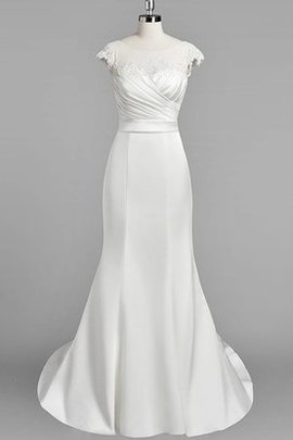 Short Sleeves Court Train Natural Waist Ruched Satin Wedding Dress