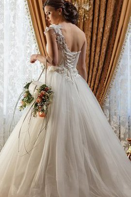 Court Train Tulle Ball Gown Ruched Natural Waist Wedding Dress