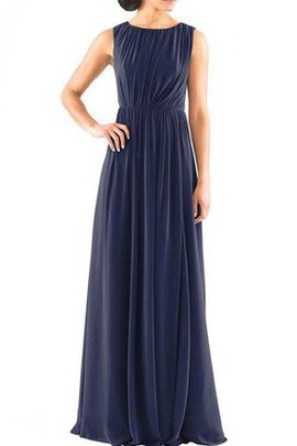 Ruched Floor Length Chiffon Sleeveless Long Bridesmaid Dress