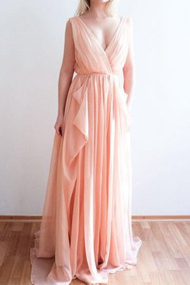 Sweep Train Sleeveless Ruffles Chiffon Deep V-Neck Bridesmaid Dress