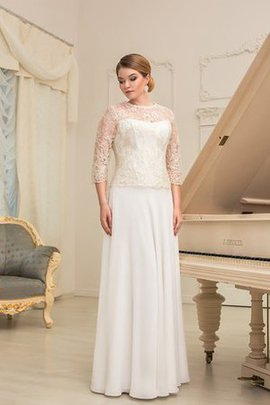 Floor Length Bateau Lace A-Line 3/4 Length Sleeves Wedding Dress