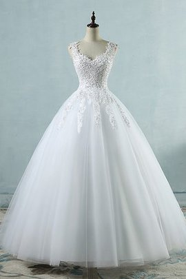 Demure Romantic Long Modest V-Neck Pleated Eye-catching Wedding Dress