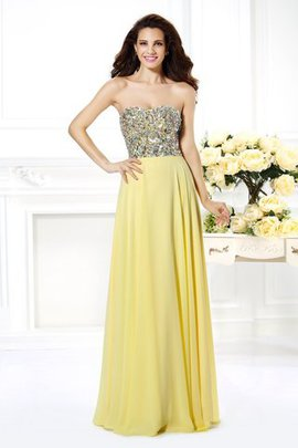 Floor Length Chiffon Strapless Beading Natural Waist Prom Dress