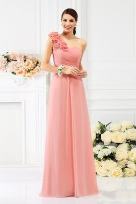 Empire Waist Chiffon Long Sleeveless One Shoulder Bridesmaid Dress