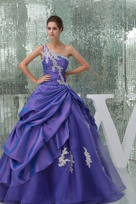 Appliques Ruched Pick-Ups Ball Gown One Shoulder Dressed In 16 Years