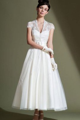 Appliques V-Neck Capped Sleeves Simple Wedding Dress