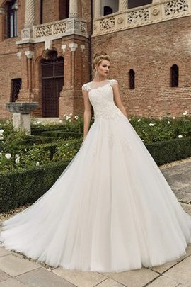 Floor Length Lace A-Line Bateau Capped Sleeves Wedding Dress