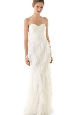 Sleeveless Sweep Train Natural Waist Ruffles Wedding Dress