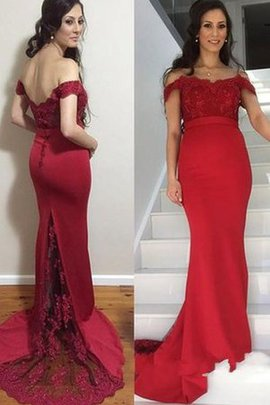 Satin Beading Court Train Mermaid Appliques Prom Dress