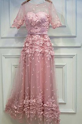 Floor Length Half Sleeves Vintage Lace-up Lace Fabric Prom Dress