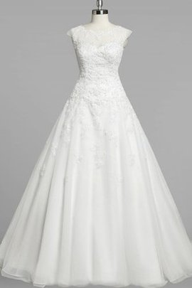 Court Train Beading Capped Sleeves Short Sleeves A-Line Wedding Dress