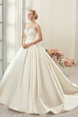 Court Train Lace Sleeveless Ball Gown Wedding Dress