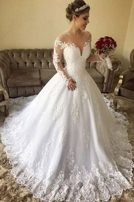 Lace-up Ball Gown Long Long Sleeves Rectangle Formal Fashionable Wedding Dress